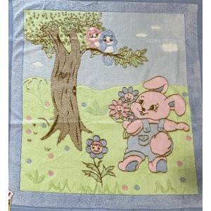 Dětská deka modrá ZAJÍČEK