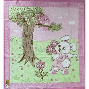 Dětská deka růžová ZAJÍČEK